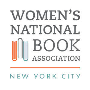 The Women's National Book Association New York City logo has the name of the organization in gray letters on a white background with a picture of three books from a top-down view.