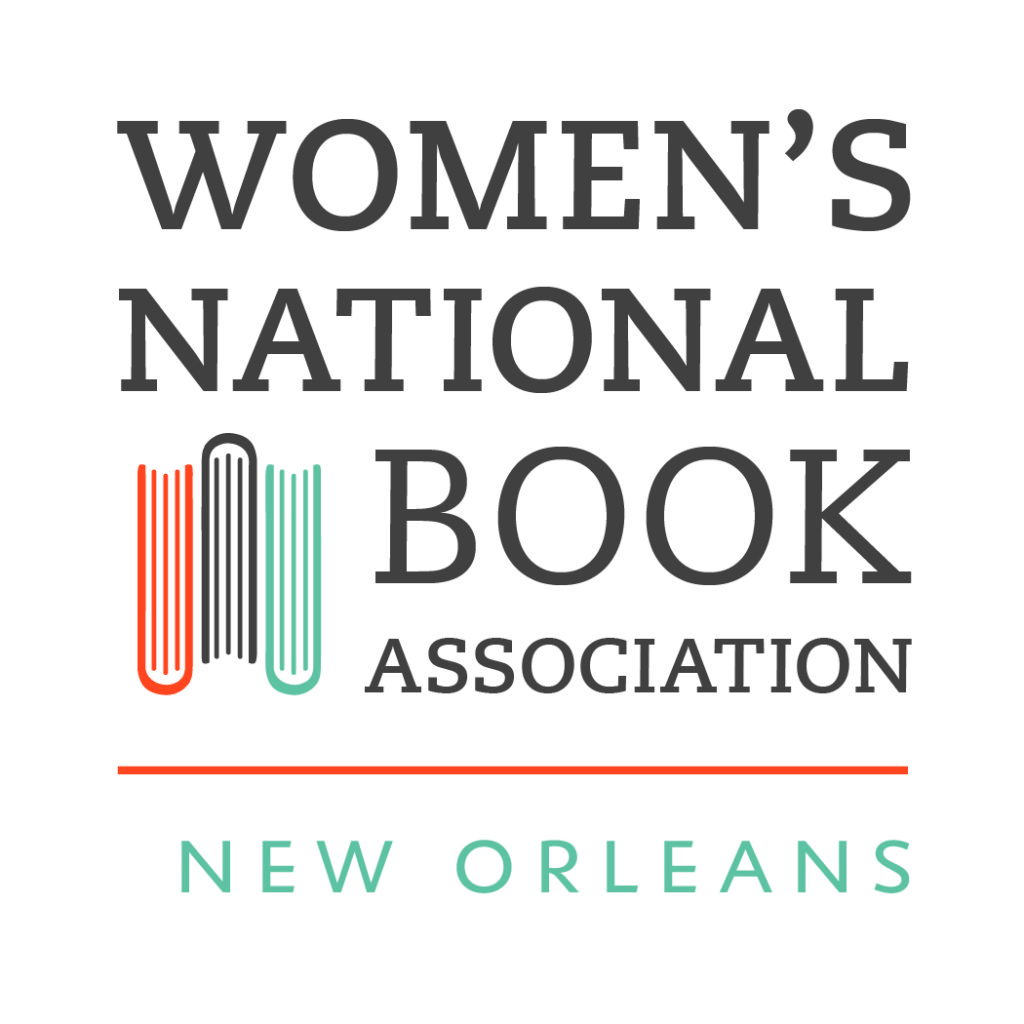 Women's National Book Association New Orleans logo has a bird's eye view of three books in orange, navy, and teal.