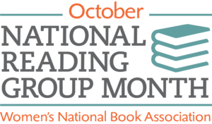 NRGM logo has three stacked books on a white background and says National Reading Group Month. October is written in orange at the top of the logo.