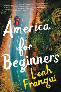 The cover of America for Beginners is an aerial photo of a highway road with a red car on it.