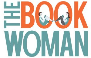 This says The BookWoman on a white background. The and Woman are teal. Book is orange.Two women are reading books in the O's.