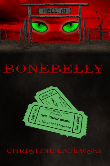 Book cover shows a red sky and the entrance to a haunted house in the woods. It also has two green admissions tickets on the cover under the title Bonebelly.