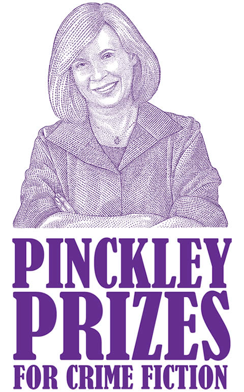 Logo for Pinckley Prizes shows a sketch of Diane Pinckley and says Pinckley Prizes for Crime Fiction all in purple.