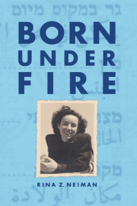 Cover of Born Under Fire shows a black and white photo of author on a blue background.
