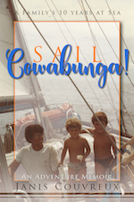 Cover of Sail Cowabunga! is a photo of three kids on a sailboat.
