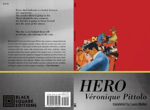 Cover of Hero has a red and gray background and an illustration of a man kissing a woman.