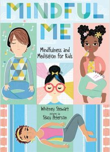 Cover of Mindful Me shows four children in various mindful poses.