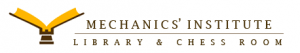 Mechanics' Institute Logo has an open book and says in brown letters Mechanics' Institute Library and Chess Room.
