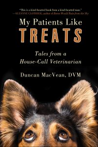 Cover of My Patients Like Treats shows the eyes and ears of a black and brown dog.