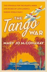 Cover of The Tango War shows bright oranges, red, and blues. There is an airplane flying over a harbor.