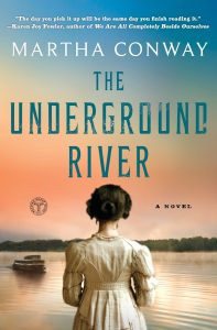 Cover of The Underground Rivers shows the back of a woman wearing an old-fashioned dress and hair style. She is facing a river.