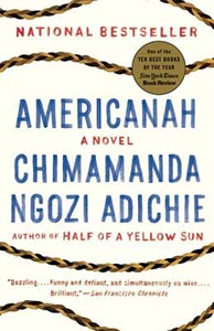 Book cover for Americanah by Chimamanda Ngozi Adichie.