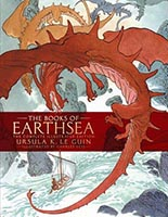 Book cover for the illustrated edition of Ursula Le Guin's Earthsea trilogy.