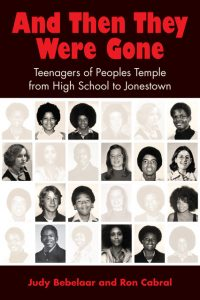 Cover of And Then They Were Gone has a black background with red letters. And yearbook photos with half of them ghosted out.