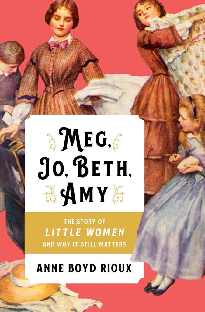 Cover has a salmon-colored background with characters from Little Women.