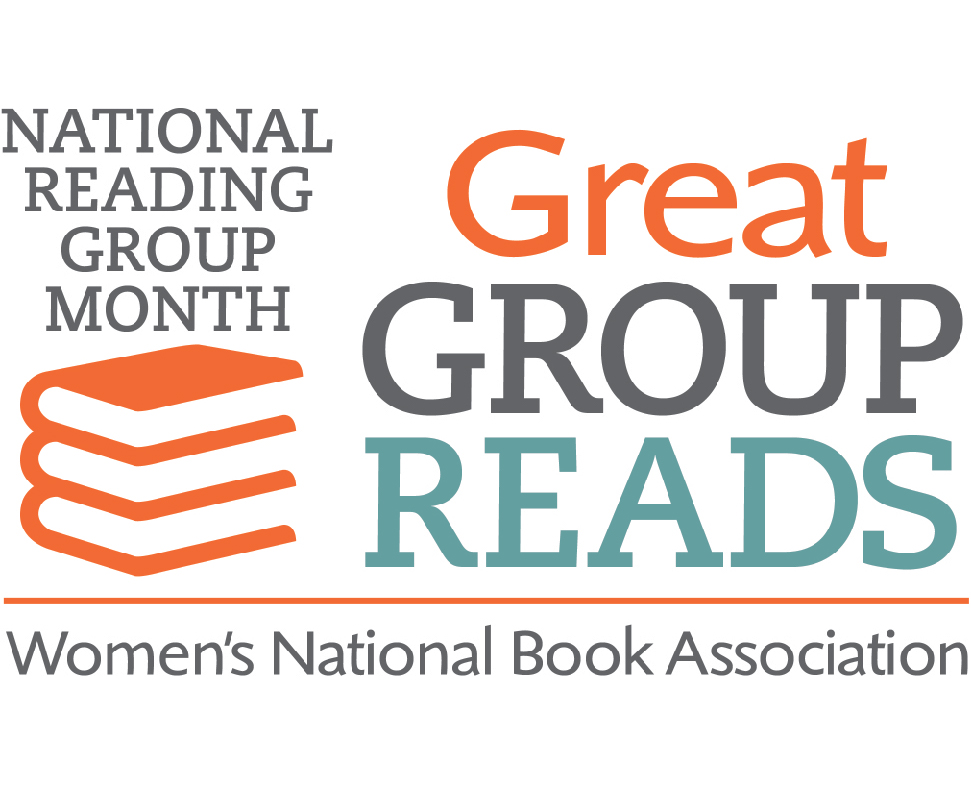 Logo that says Great Group Reads in large font on right with National Reading Group Month and a stack of orange books on left and Women's National Book Association written at bottom