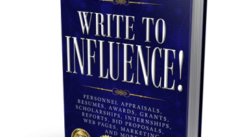 3-D cover image of Write to Influence ahs a navy blue background and white lettering.