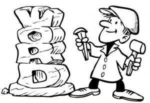 """A black-and-white illustration of a sculptor using a hammer and a chisel to create a sculpture that says """"Word"""" with the letters stacked on top of each other."""