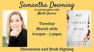 Promo for Samantha Downing's book discussion and signing.