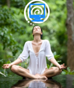 A woman sits outside meditating and a computer image is in the thought bubble above her.