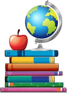 Cartoon stack of books with an apple and a globe sitting on top.