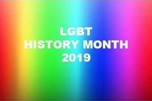 LGBT History Month 2019 with rainbow colors behind it