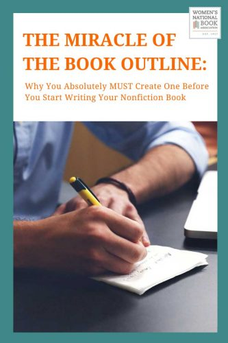 The Miracle of Image of a person writing in a notebook for the post Writing The Book Outline