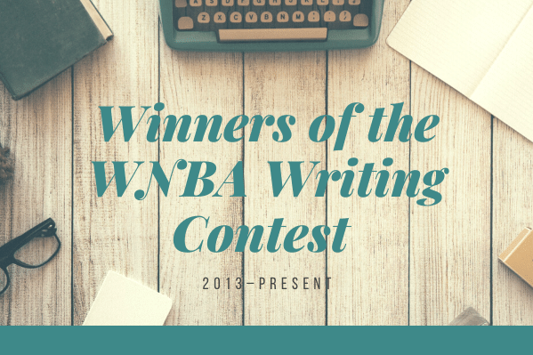 A wood-plank table has an old greenish-gray typewriter with yellow keys, a book, a notebook, and a pair of glasses resting on it. The text says Winners of the WNBA Writing Contest 2013–present.