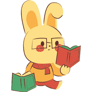 Bunny wearing clothes and glasses reading a book in left hand while holding open book in right