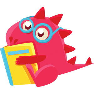 A pinkish-red dragon with blue round glasses is reading a yellow books with blue spine