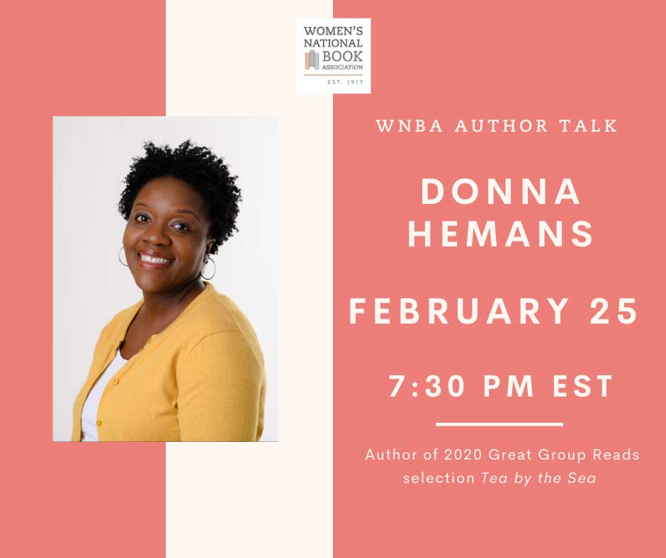 Graphic with Donna Hemans picture and text that says WNBA Author Talk Donna Hemans February 25 at 7:30 pm EST