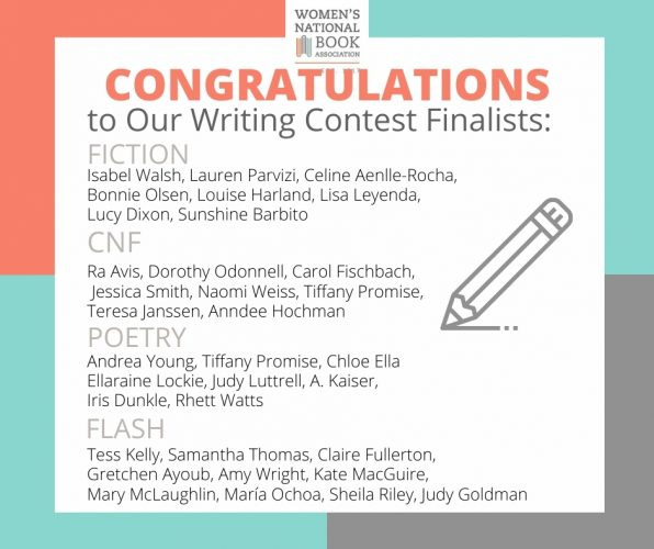 2020 WNBA Writing Contest graphic announcing finalists