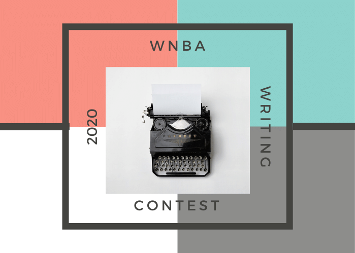 2020 Writing Contest graphic with four color blocks and a center square overlay with a typewriter on it. Text says 2020 WNBA Writing Contest
