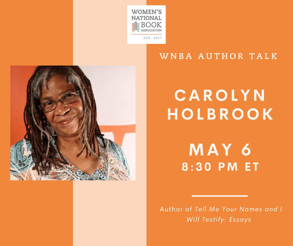 Graphic for WNBA Author Talk with Carolyn Holbrook lists time and date and shows Carolyn Holbrook's headshot.