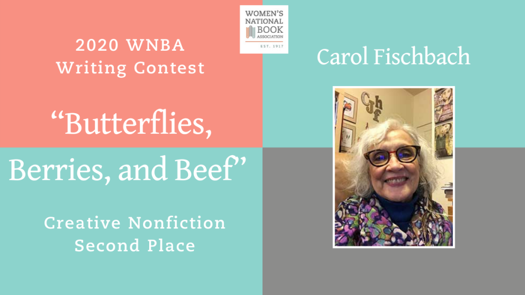 Graphic showing Carol Fischbach's headshot stating she is the second place winner for Creative Nonfiction for the 2020 WNBA Writing Contest