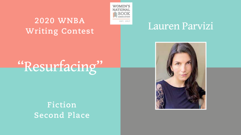 Graphic showing Lauren Parvizi's headshot stating she is the second place winner for fiction for the 2020 WNBA Writing Contest