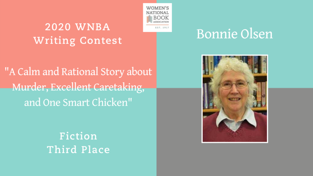 Graphic showing Bonnie Olsen's headshot stating she is the third place winner for fiction for the 2020 WNBA Writing Contest
