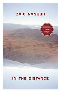 In the Distance book cover shows a light gray sky, mountains in the background, and desert in the midground. The cover is designed so that if you turn it 180 degrees, the image is the same.