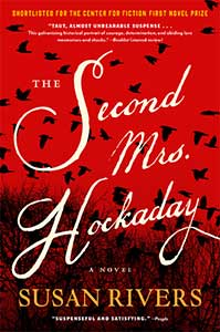 The Second Mrs. Hockaday book cover has a red sky with many black birds flying over a field.