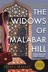 The Widows of Malabar Hill book cover shows and elaborate door with lots of stained glass stars.