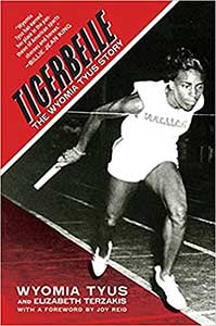 Tigerbelle's cover is red wih and black and white photo of Wyomia Tyus running.