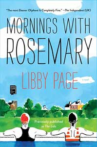 Mornings with Rosemary's cover has a bright blue sky with white, puffy clouds, green grass, trees, and hedges with tops of several houses showing, and in the foreground are the backs of two women wearing swimming suits and caps.