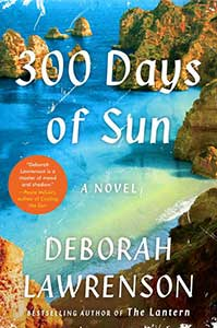 The book cover of 300 Days of Sun shows ocean water with large rocks scattered throughout.