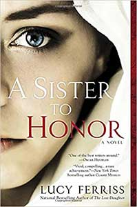 The book cover for A Sister to Honor shows the left half of a woman's face. She has a hoodie up, which takes up the rest of the cover.