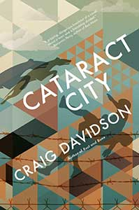 The book cover for Cataract City has geometric shapes in muted colors. There appears to be abstract horses and a person among the shapes.