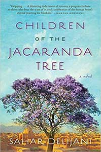 The book cover for Children of the Jacaranda Tree has a desert background, blue sky, and a very large tree with purple blossoms.