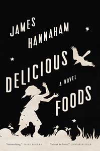 The book cover for Delicious Foods has a black sky with a few stars in it. There is a child looking at a bird.