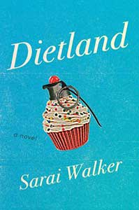 The book cover has a blue background and in the center is a cupcake with white icing and rainbow sprinkles. The top of the cupcake has a grenade head with the pin still in it, with a cherry on top.