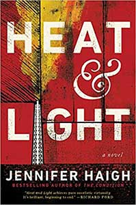 Boards painted red serve as the background for Heat and LIght's book cover. In one spot, there is a tower that is giving off smoke, which is yellow.