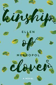 A blue-gray background with a couple dozen individual falling green leaves adorns the Kinship of Clover book cover.